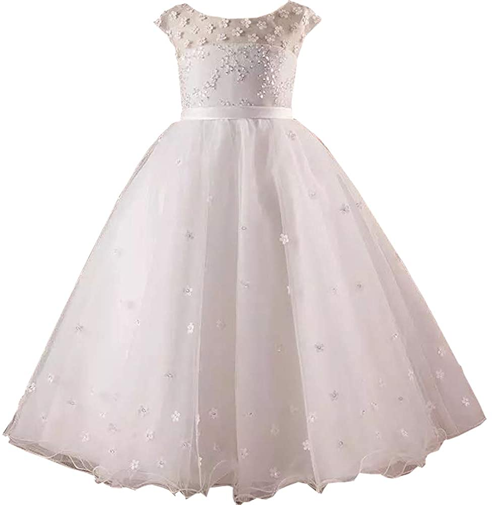 Michealboy Lovely Baby Girls Flowers Jewel Sleeveless A-Line Tulle Dresses