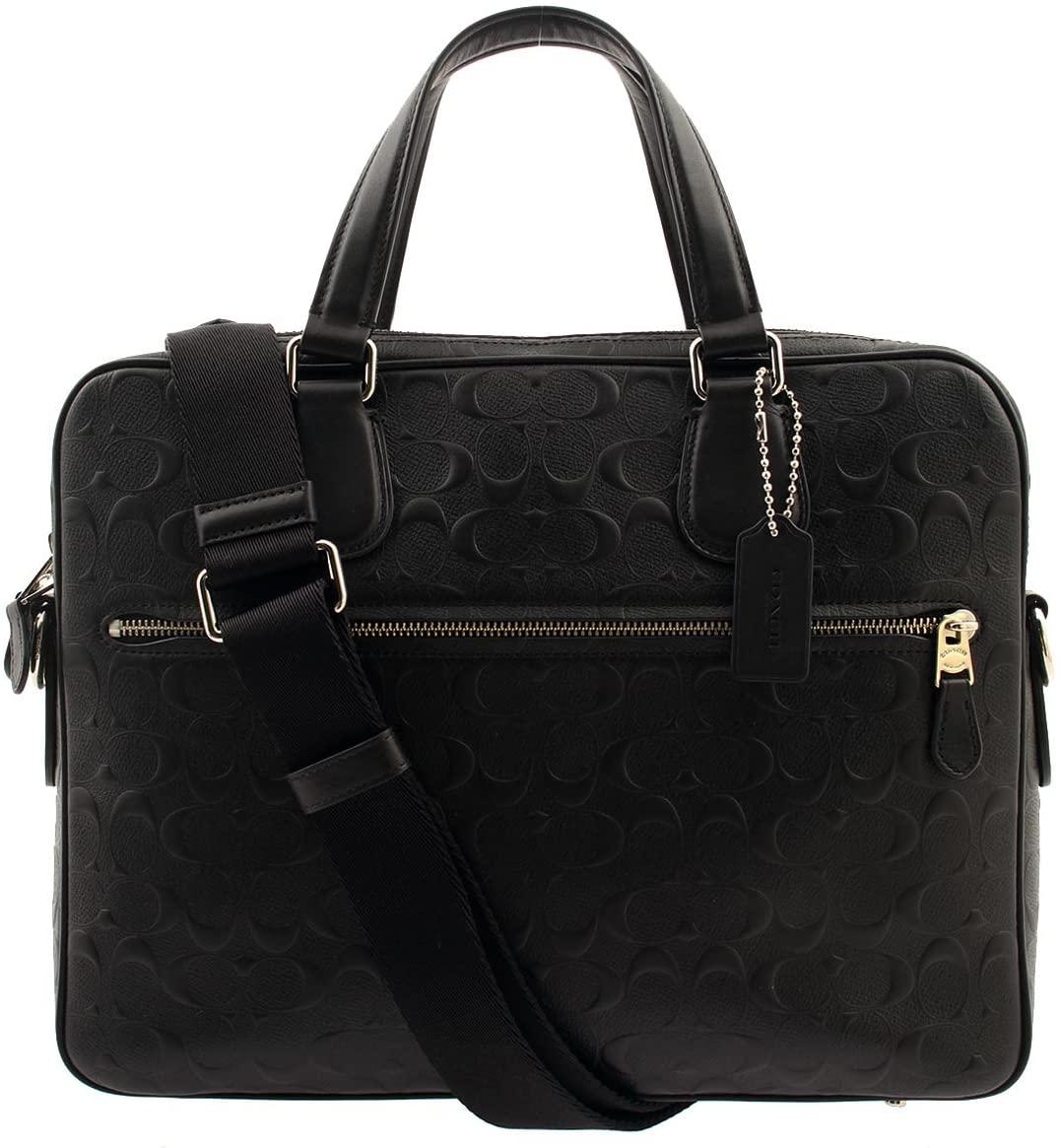 COACH Signature Embossed Hudson 5 Slim Briefcase in Black