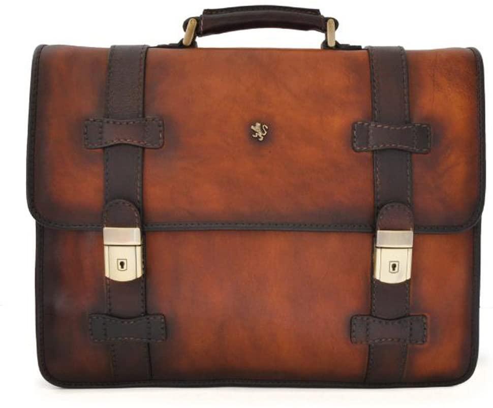 Pratesi Vallombrosa Italian Leather Flap Over Briefcase. Business Bag (brown)