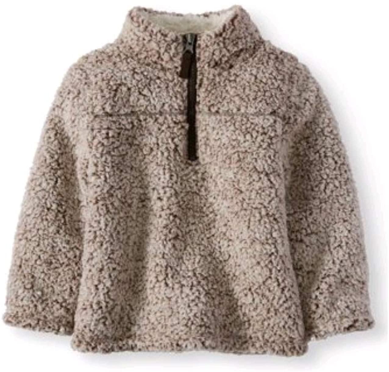 Wonder Nation Baby Boys Quarter Zip Super Soft Sherpa Pullover (4T, Warm Fudge)