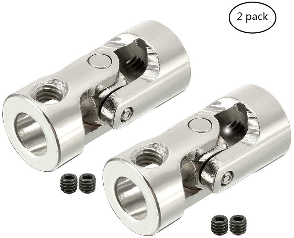 Hobbypower 2 Pcs Universal Joint Coupling Steering Connector Adapter 6mm to 6.35mm 1/4