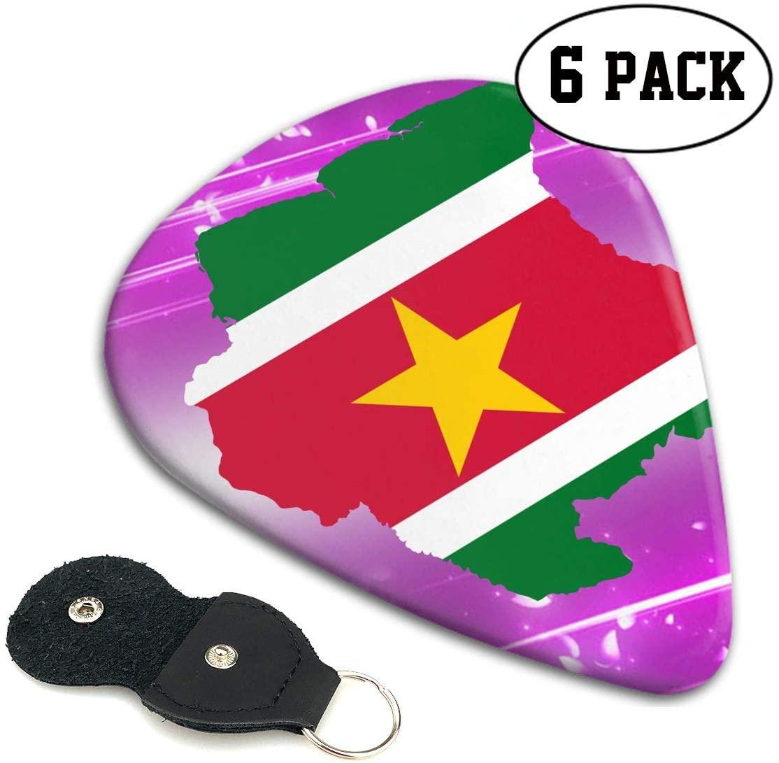 Chion 351 Shape Classic Celluloid Suriname Flag Map Guitar Picks 6 Pack