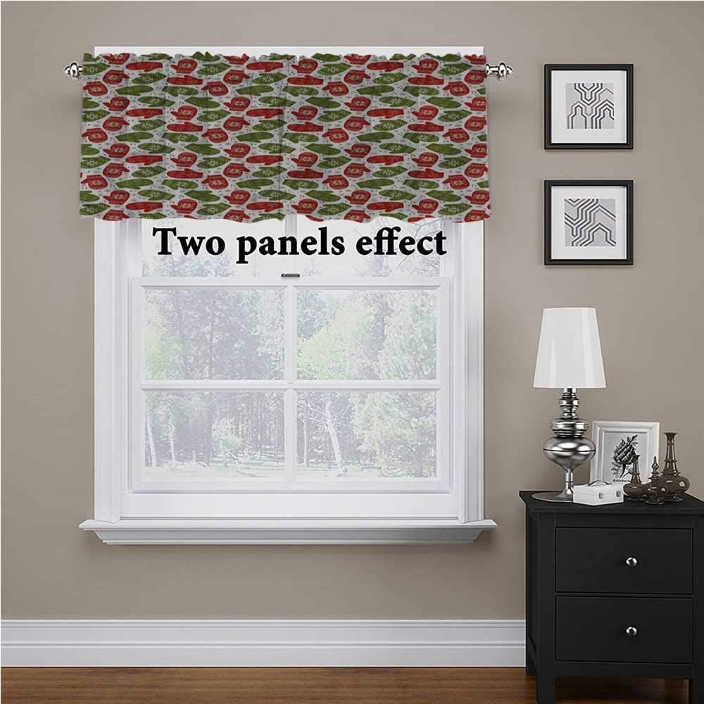 shirlyhome Christmas Custom Valance Winter Mitten Nordic for Kids Room/Baby Nursery/Dormitory, 54 Inch by 18 Inch 1 Panel