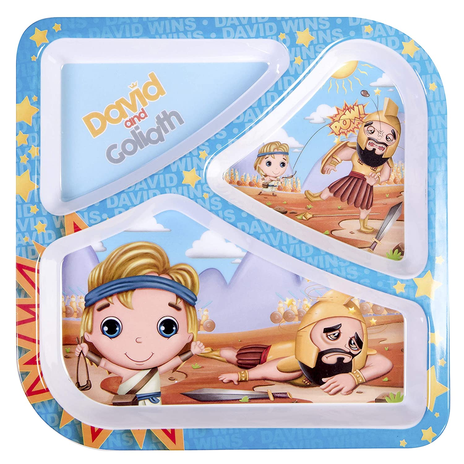 He Loves Me Kids and Goliath 3-Section Divided Plate for Kids BPA-Free Non-Toxic Melamine Durable Snack Plate Dishwasher Safe Child Feeding Dinner Plate