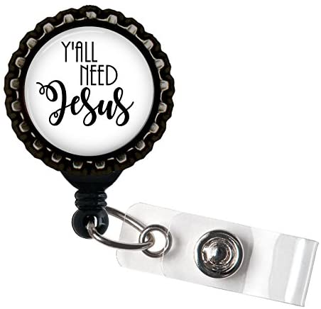 Yall Need Jesus Black Resin Retractable Badge Reel ID Holder