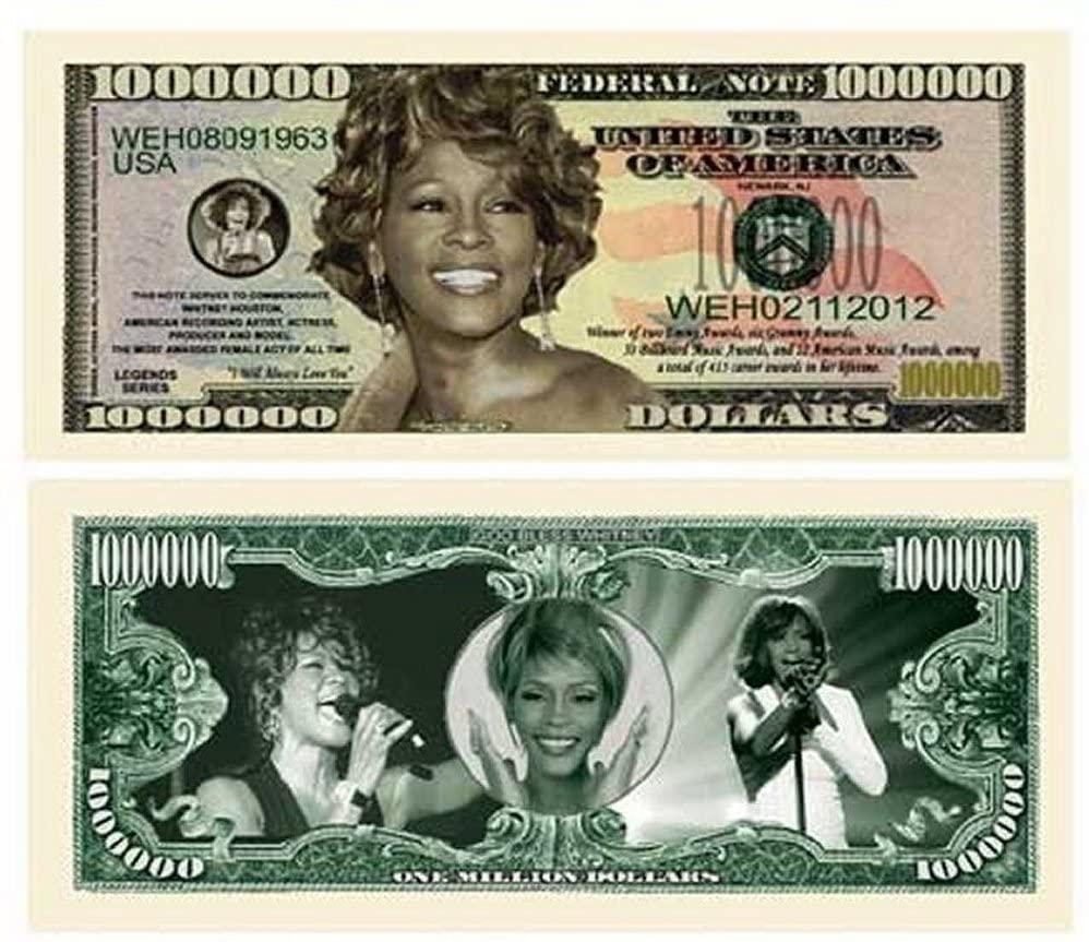 "100 Whitney Houston Million Dollar Bills with Bonus ""Thanks a Million"" Gift Card Set"