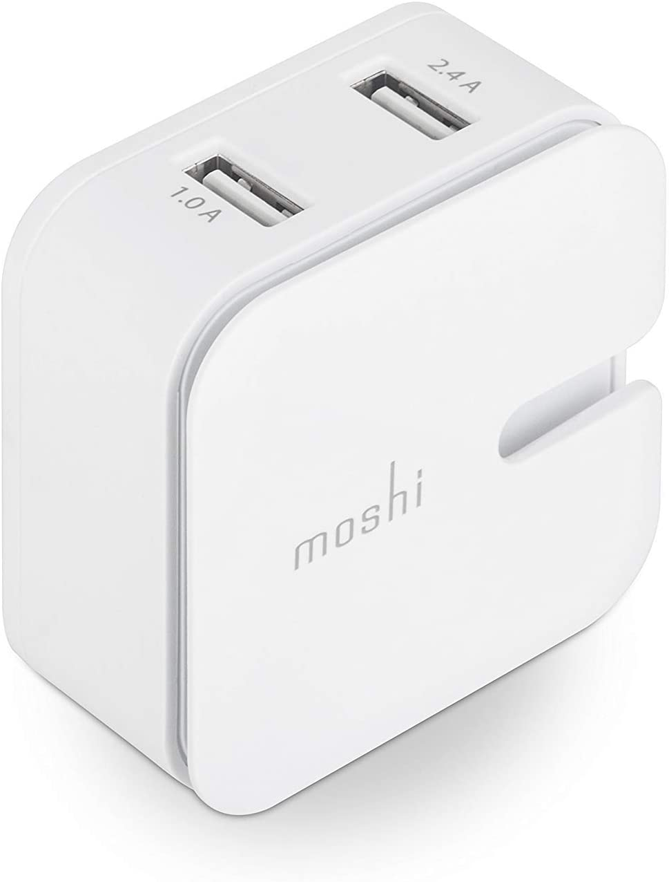 Moshi Rewind 2 Dual-Port Power Adapter for iPhone, iPad, iPod and USB Charging Devices, White