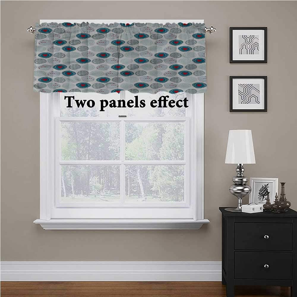 shirlyhome Hearts Tier Curtains for Living Room Doodle Uneven Circles Spots for Kids Room/Baby Nursery/Dormitory, 60 Inch by 18 Inch 1 Panel
