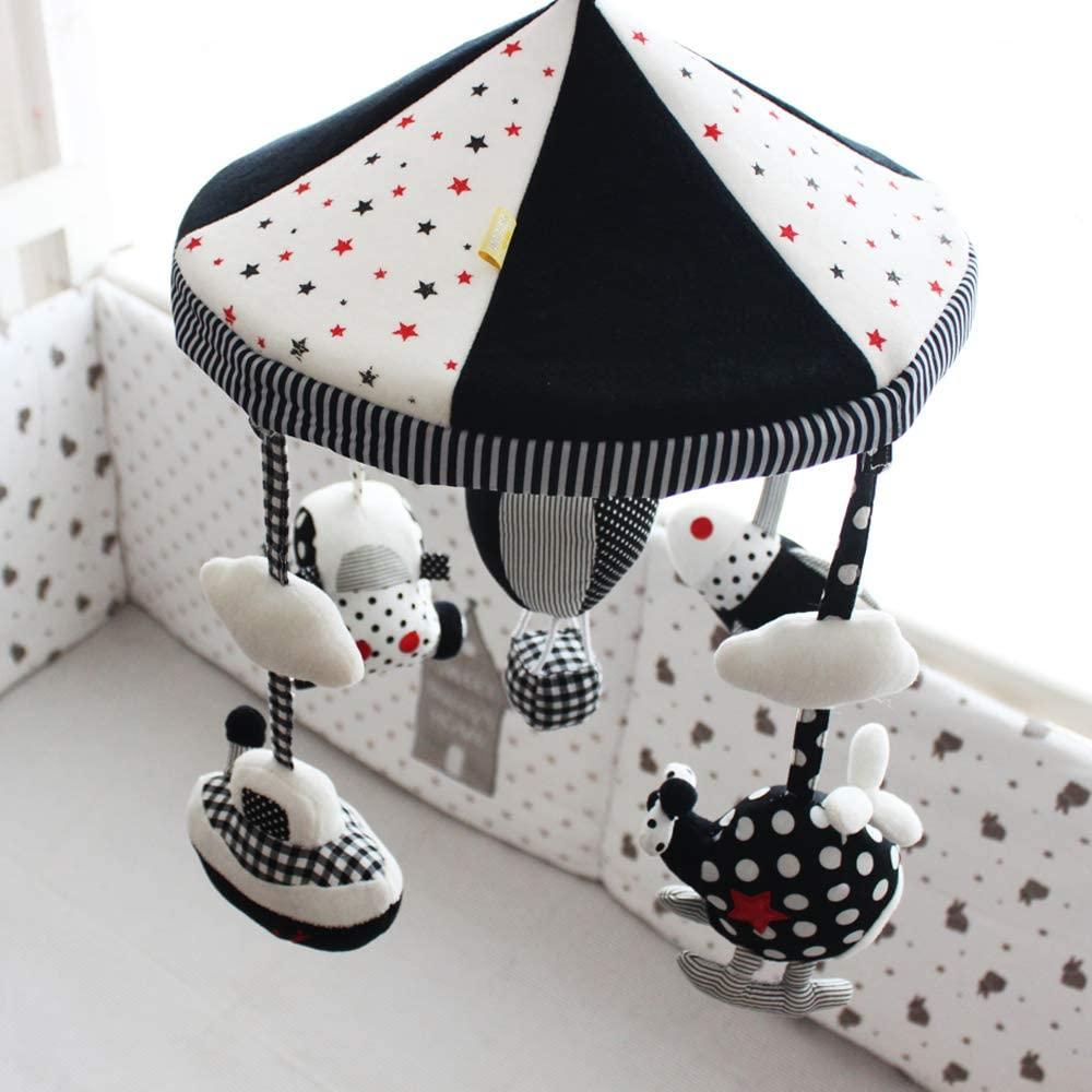 SHILOH Newborn Rotatable Windup Plush Mobile (White and Black)