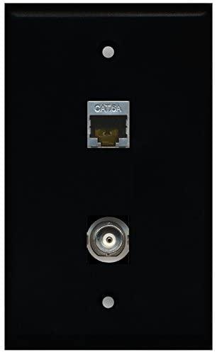 RiteAV - Black 1 Port BNC 1 Port Cat6a Wall Plate