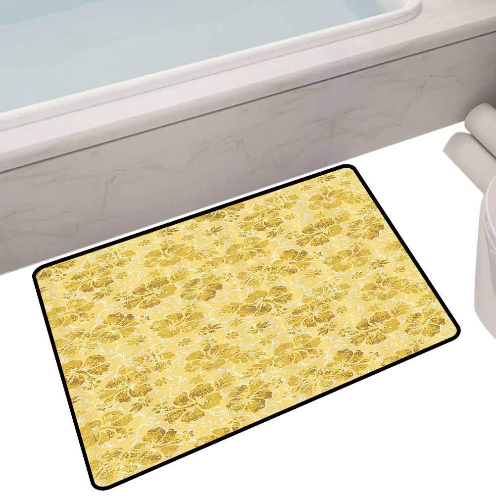 Indoor Polyester Mats Golden Hibiscus Flowers Pattern Grunge Decor Tropical Beach Theme Hawaii Nature Picture,24