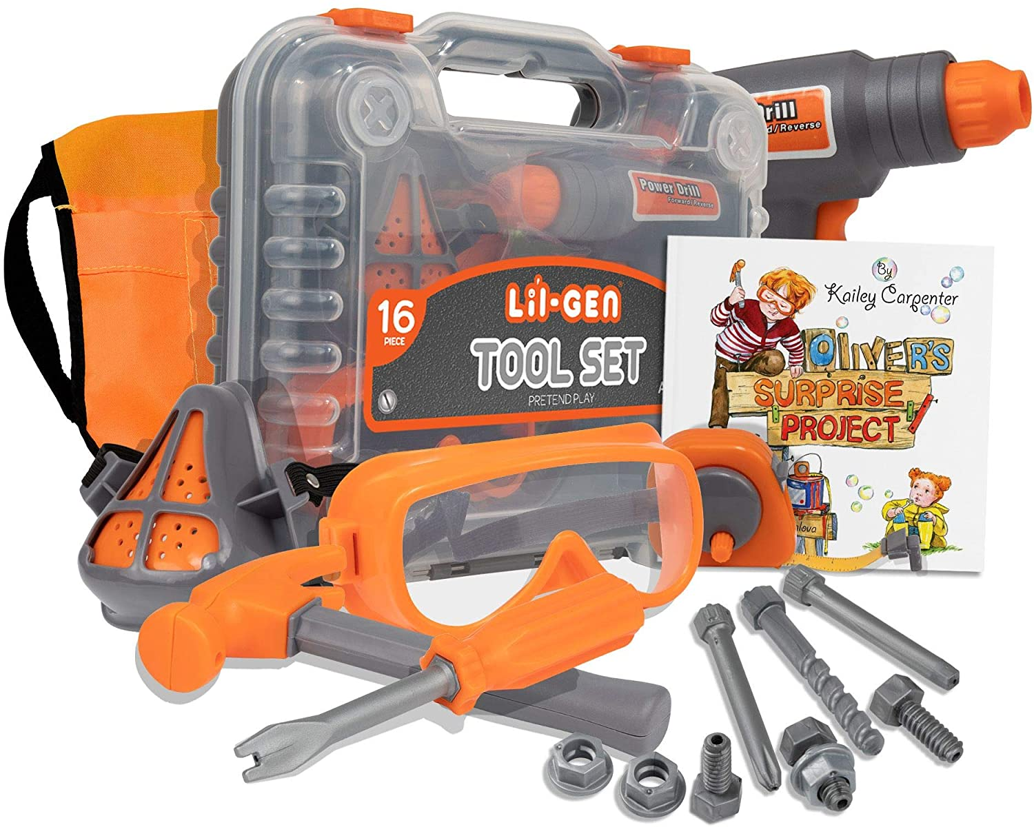 Li'l-Gen Kids Tool Set with Book, 16 Pieces Tools Plus Case - Includes Oliver's Surprise Project! Book Pretend Play Toys for Boys and Girls Age 3+,