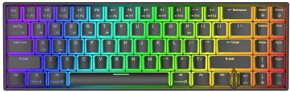 Crystalzhong Rainbow LED Backlit Keyboard 71 Keys Dual Mode Bluetooth 3.0 + USB Wired RGB Backlit Mechanical Gaming Keyboard - Black (Color : Black, Size : Blue Switch)