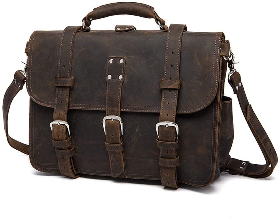 Briefcase - Brown Retro Casual Large Capacity Multi-Functional Horizontal Business Computer Bag, Mens Leather Handbag, 42x23x30cm Briefcase