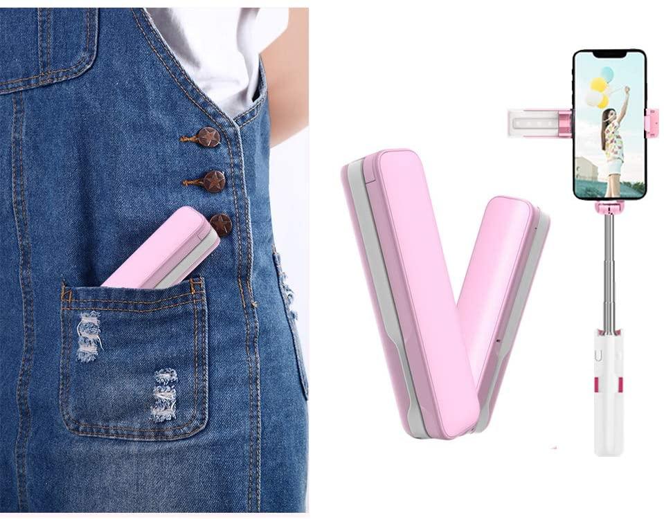 A6 Bluetooth Selfie Stick, Mini Selfie Sticks Led Fill Light (Pink)