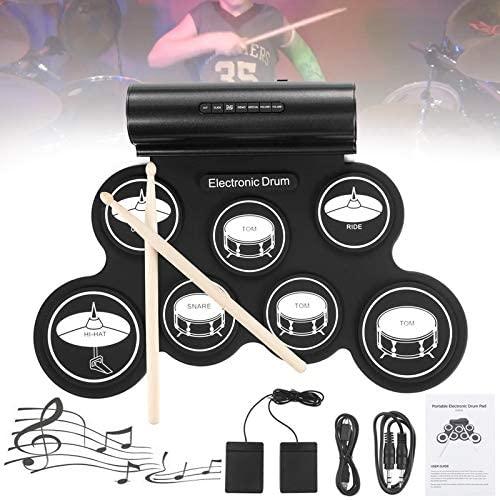 OriGlam Electronic Drum Set, Electronic Drum Pad, Roll Up Drum Kit, Midi Drum Kit Practice Pad, Built-in Speaker Digital Drum Pedals Drum Sticks, 10 Hours Playtime, Great Holiday Birthday Gift