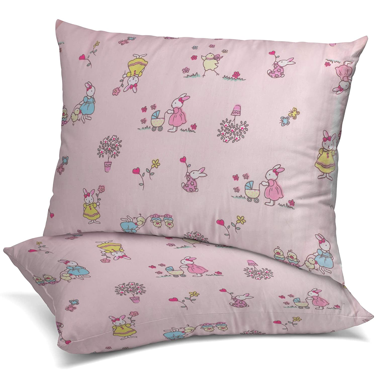 Celeep [2-Pack] Baby Toddler Pillow Set - 13 x 18 Inches Toddler Bedding Small Pillow - Baby Pillow with 100% Cotton Cover (2-Pack Set w/Pink Pillowcases)