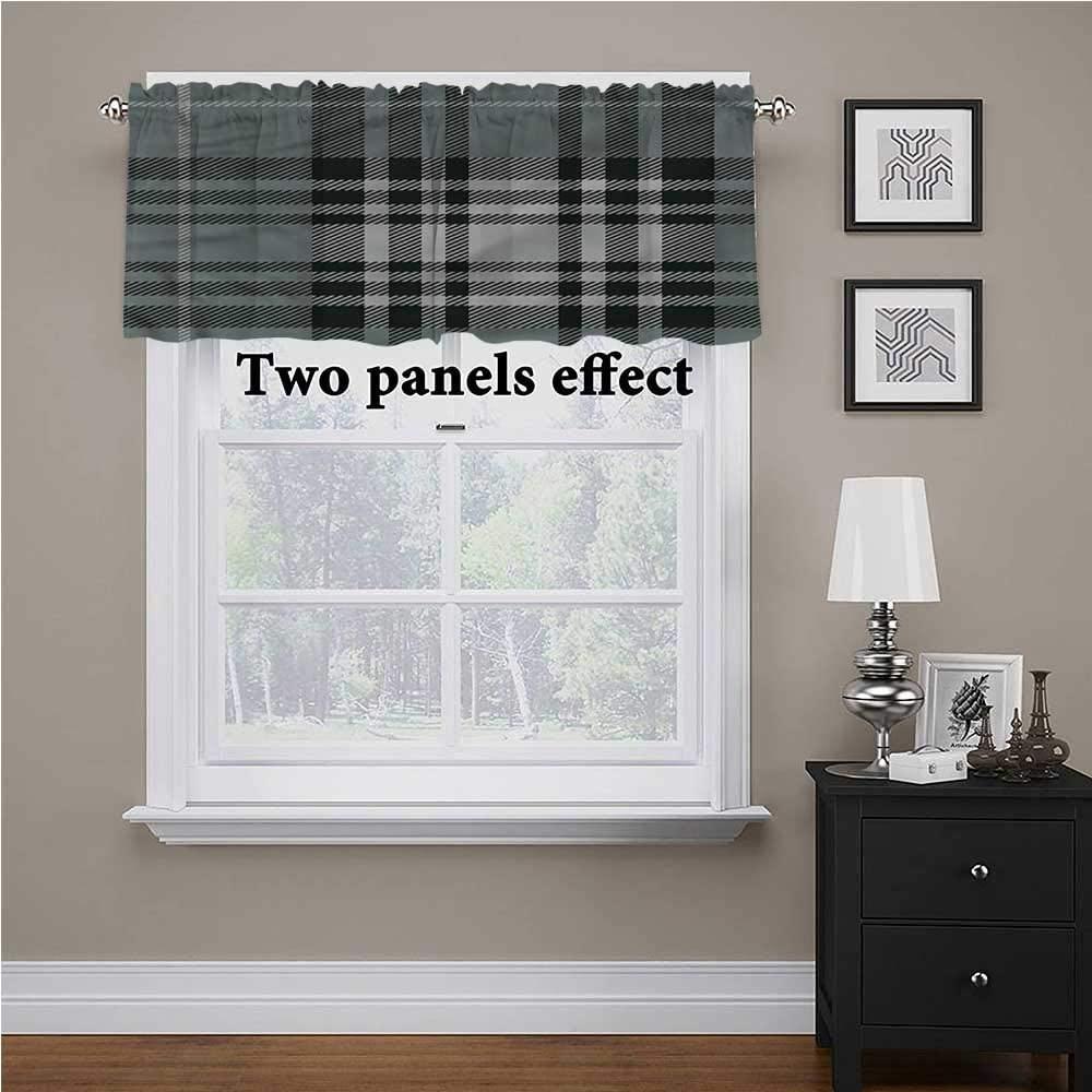 shirlyhome Checkered Window Treatments Dark British Tartan for Kids Room/Baby Nursery/Dormitory, 42 Inch by 18 Inch 1 Panel