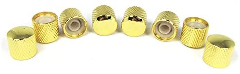 8-pack Potentiometer Knobs: Dome-Top Knurled Gold