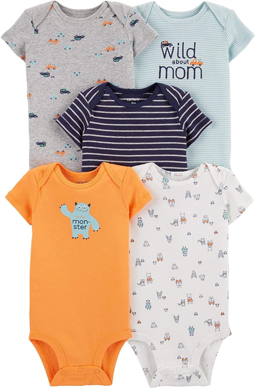 Carter's Baby Boys 5 Pack Bodysuit Set, Monster, 18 Months