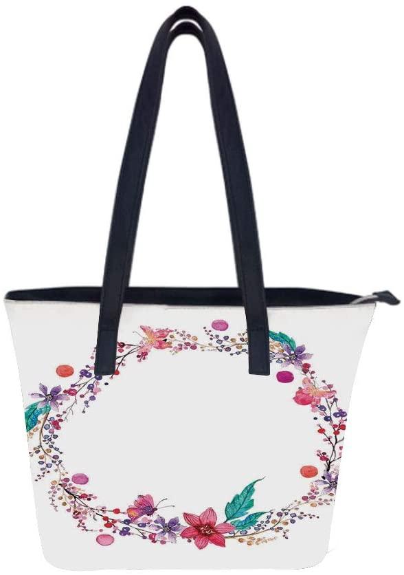 Watercolor Flower Wildflowers Women Leather Laptop Tote Office Shoulder Handbag Computer Briefcase