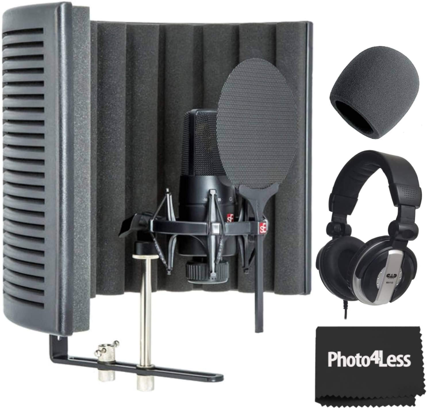sE Electronics X1-S-Studio-Bundle Microphone with Reflexion Filter X, Shockmount and Cable Pack + CAD Closed-Back Studio Headphones + Foam Windscreen + Cleaning Cloth