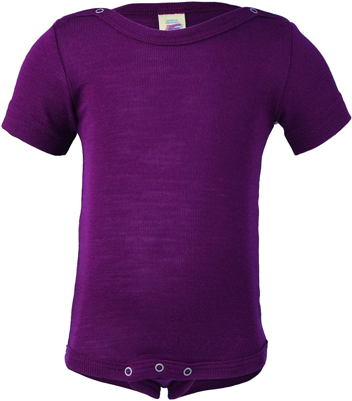ENGEL Bodysuit Merino Wool Silk Short Sleeves Baby Body top Shirt Organic 70 9020 (6-12 Months, Orchid)