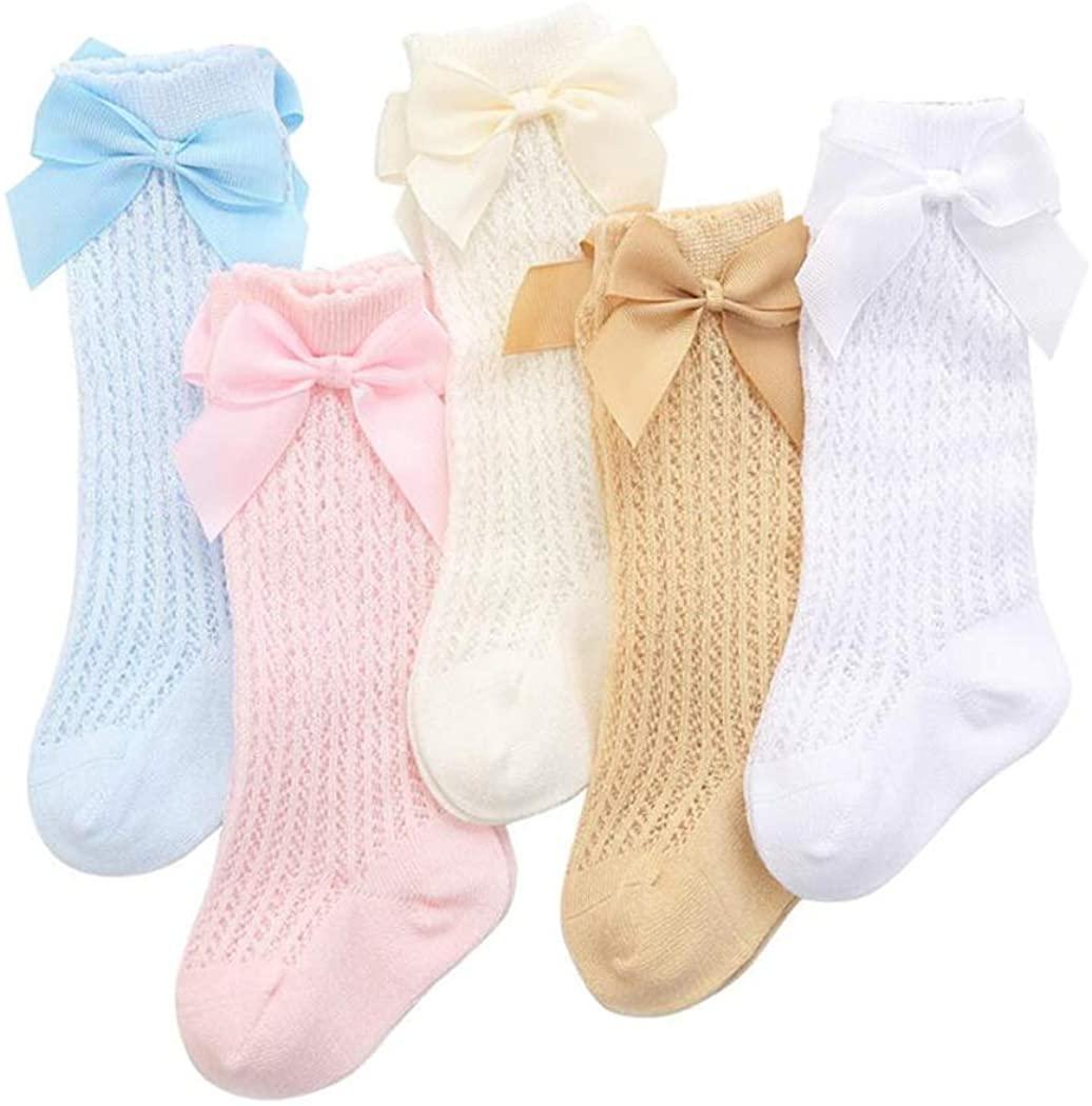 Ashmyova Baby Girls Knee High Mesh Socks Breathable Infants Toddlers Bowknot Dress Socks