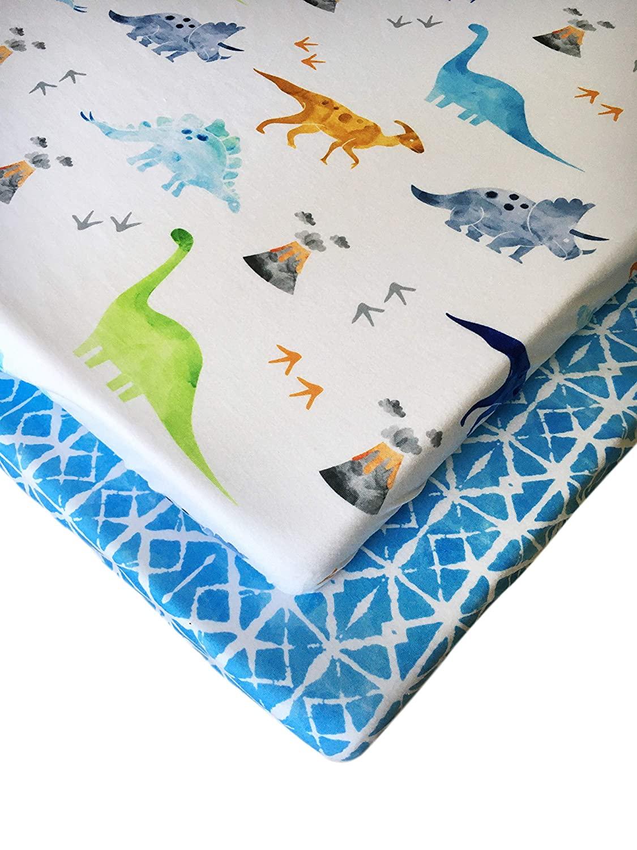 Pack n Play Fitted Pack n Play Playard Sheet Set-2 Pack Portable Mini Crib Sheets,Playard Mattress Cover,Super Soft Material, Dinosaurs and Shibori