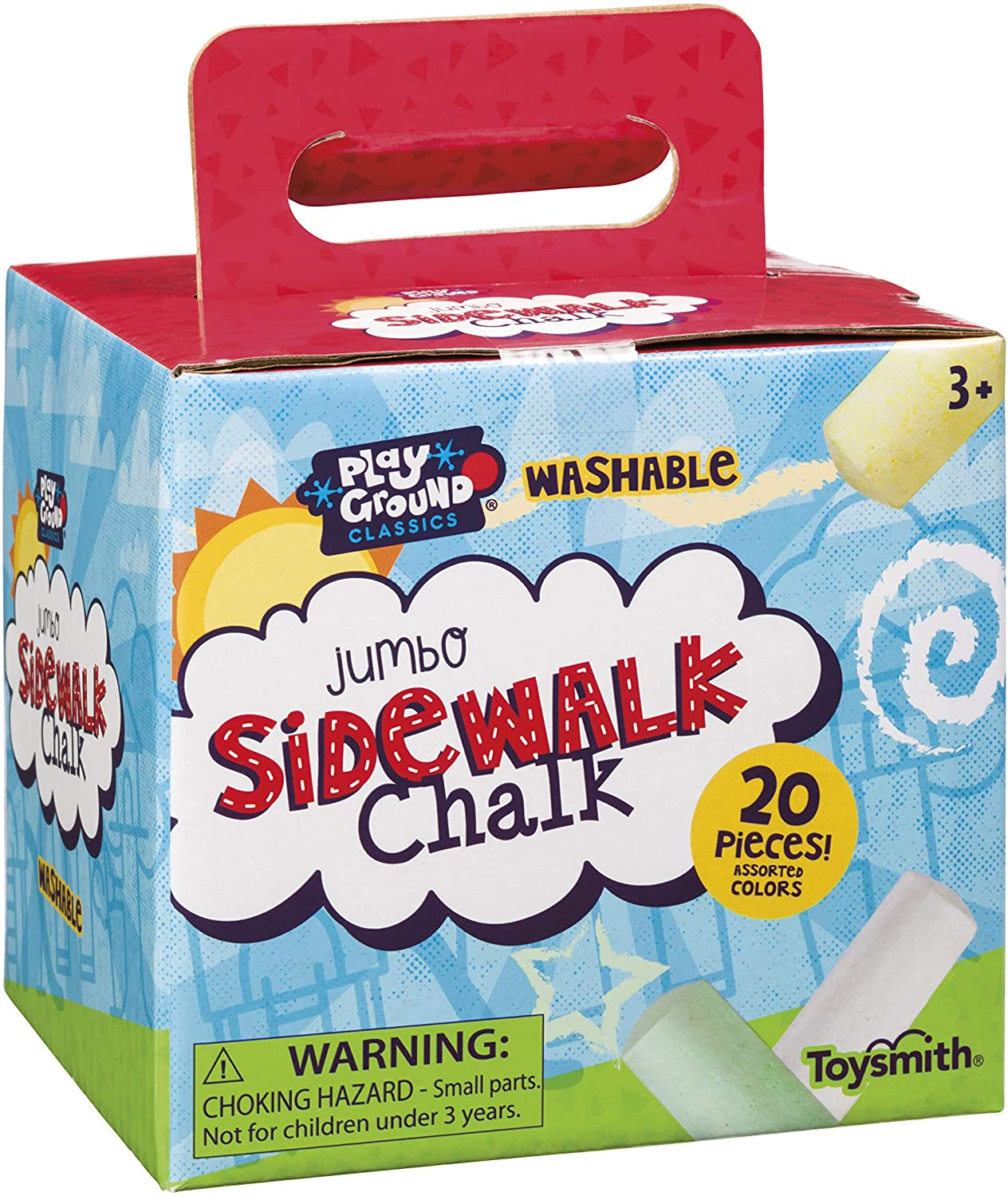 Toysmith Jumbo Sidewalk Chalk, Assorted Colors (Packaging May Vary), Model Number: 2551