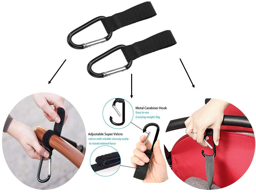 Replacement Parts/Accessories to fit Evezo Strollers and Car Seats Products for Babies, Toddlers, and Children (Carabiner Hooks Pair)