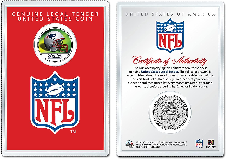 NEW ENGLAND PATRIOTS NFL Helmet JFK Half Dollar Coin w/Display Case LICENSED