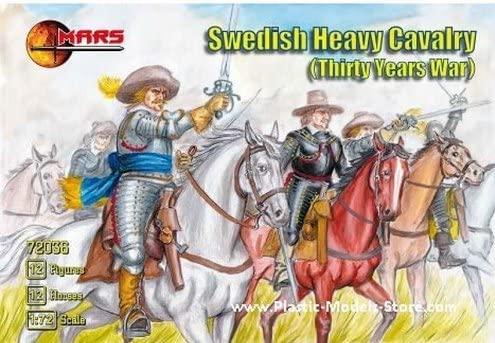 Mars Plastic Model Figures Swedish Heavy Cavalry Horses 12 fig 1/72 Figures 72036