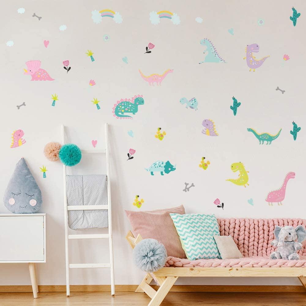 Dinosaur Wall Stickers for Kids Room,Peel and Stick Wall Decals,Nursery Children Bedroom Decor Waterproof Wall Murals