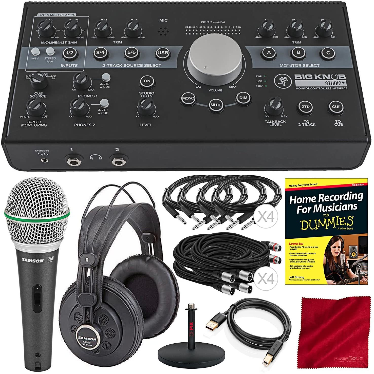 Mackie Big Knob Studio Plus Monitor Controller Interface and Platinum Studio Bundle with Dynamic Microphone + Studio Headphones + Home Recording Guide + Much More