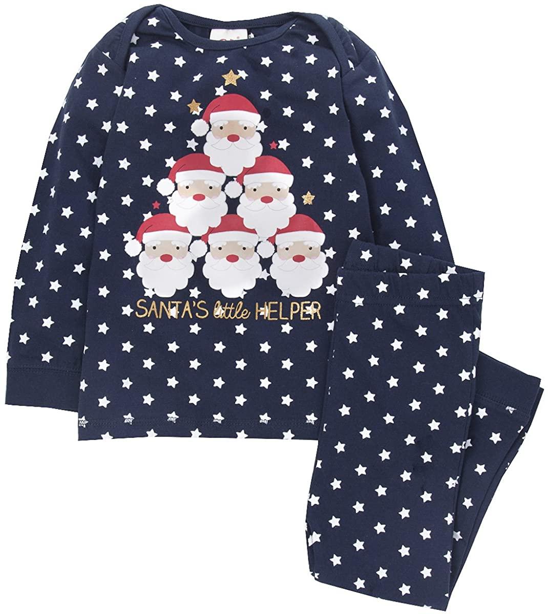 QT Unisex Baby Toddler Boys Girls Novelty Christmas Pajamas (Sizes 6-24m) 100% Cotton PJ Set