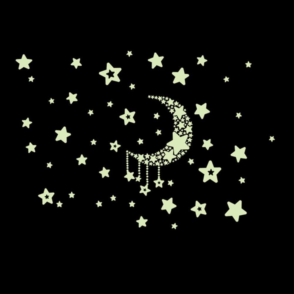 Decdeal Night Starry Sky Moon Stars DIY Glow in The Dark Luminous Stickers Kids Room Wall Decor Decals for Kids Baby's Bedroom Living Room