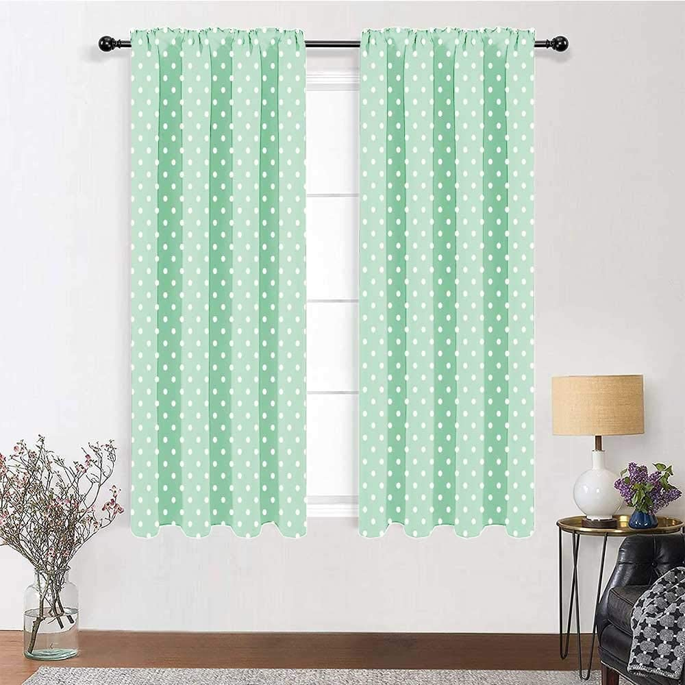 Blackout Window Curtain Green Cute Drapes Retro Style Baby Nursery Themed Pattern with Little White Polka Dots Pastel 2 Panels 84