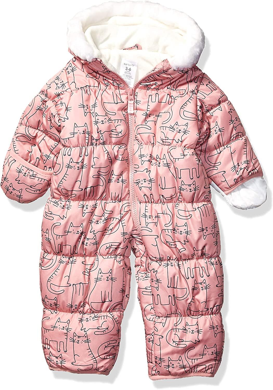Carter's Baby Girls Pram Suit, Pink Cat Print, 3/6 Months