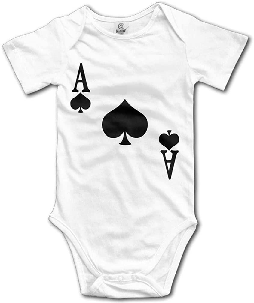 Ace of Spades Poker Cute Baby Onesie Short Sleeve Unisex Infant Rompers Bodysuit