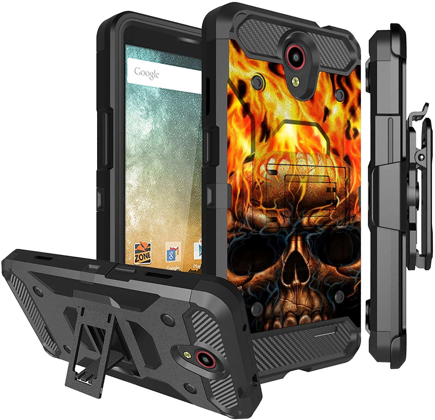 Untouchble Case for Combo Case for ZTE Overture 2, ZTE Prestige 2, ZTE Maven 3 Case [Tank Series] Triple Layer Case, Inner TPU Bumper Shell Kickstand Belt Clip Rugged Cover - Skull on Fire