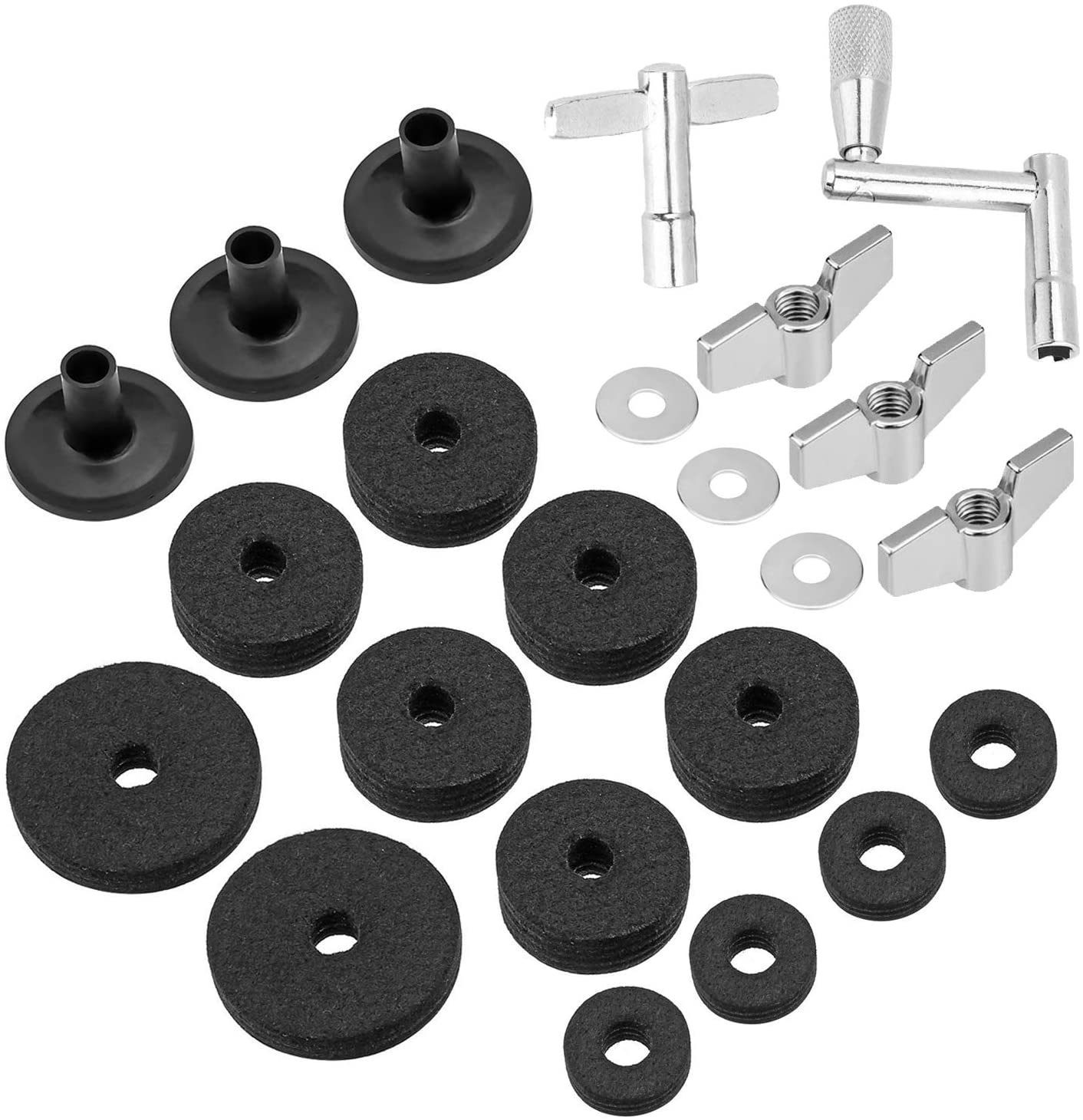 23 Pieces Cymbal Replacement Accessories Cymbal Felts Hi-Hat Clutch Felt Hi Hat Cup Felt Cymbal Sleeves with Base Wing Nuts Cymbal Washer and Drum Keys for Drum Set (Black)