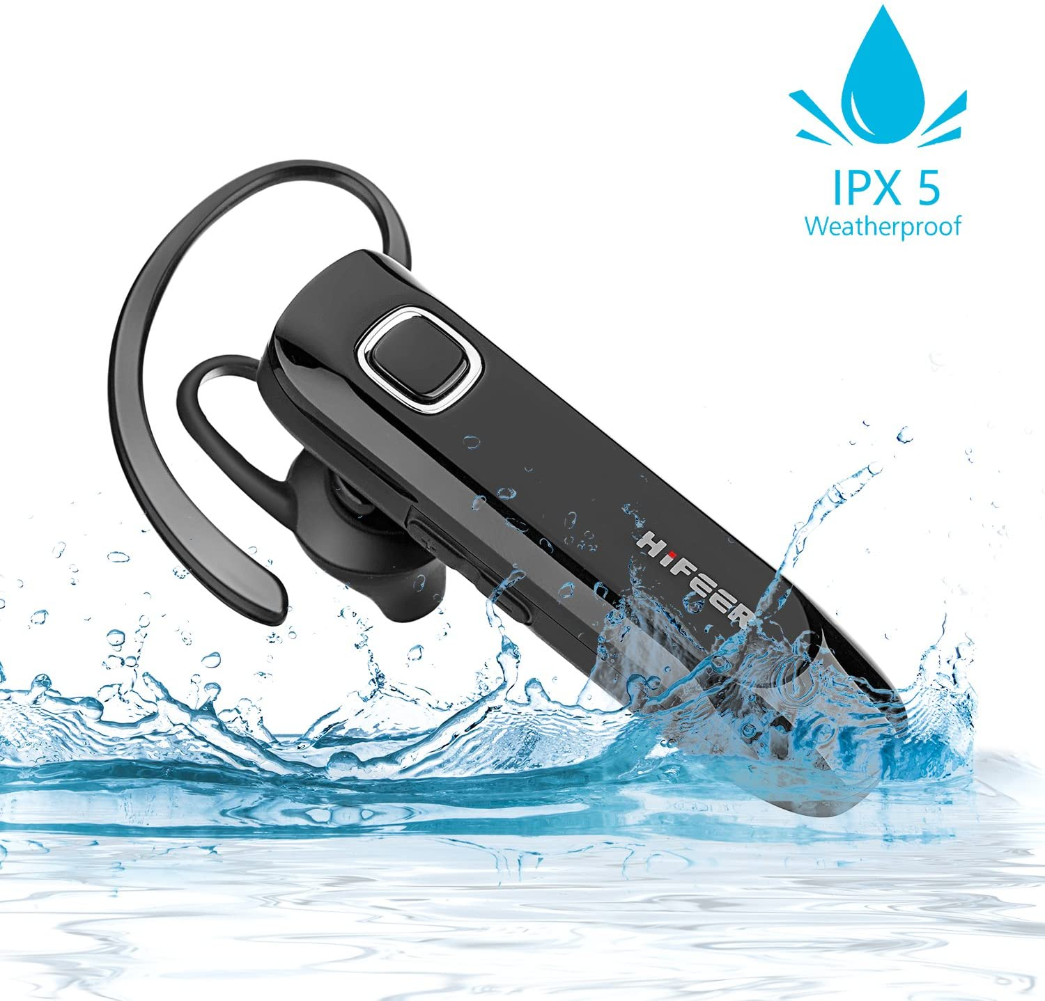 HIFEER Bluetooth Headset Waterproof Voice Command Wireless Bluetooth Earpiece with Noise Canceling Mic Hands Free for iPhone Android Samsung Cell Phone - Black