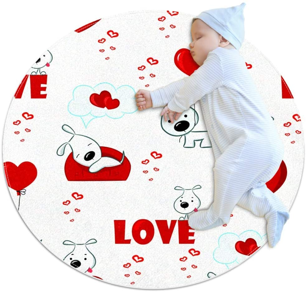 Dog Heart Balloon Baby Area Rug Home Decorative Carpet Soft and Washable Pad Non-Slip for Kid's Toddler Infants Room 3feet 3.4inch
