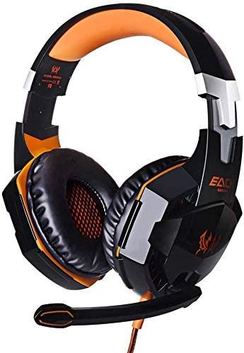 G2000 Over-Ear Game Gaming Headphone Headset Earphone Headband with Mic Stereo Bass LED Light for PC Game Orange