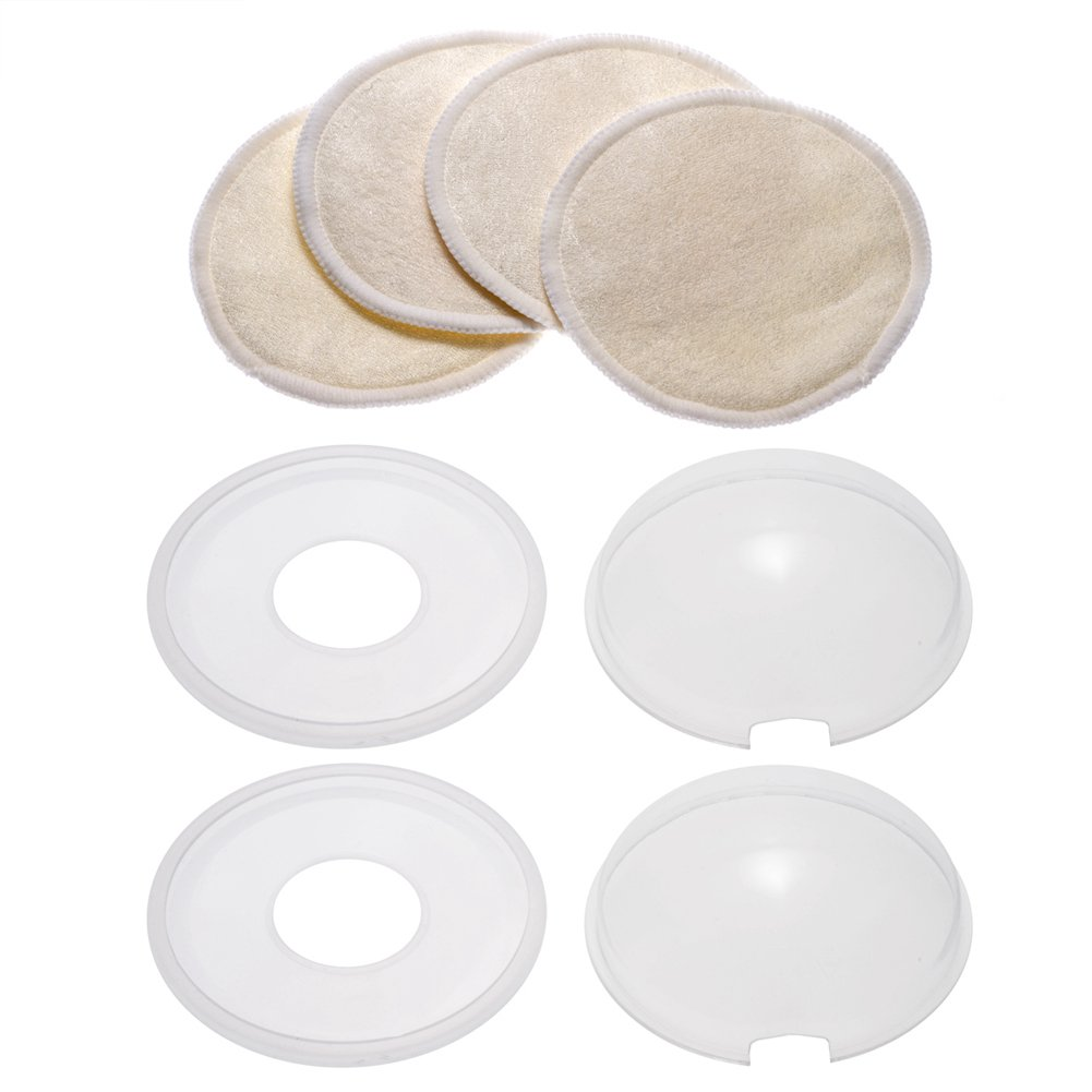 Breast Shells Set, PChero 2 Pack Milk Saver Nursing Cups + 4 Pack Washable Nursing Pads, Perfect for Protecting Sore Nipples for Breastfeeding and Collecting Breast Milk Leak
