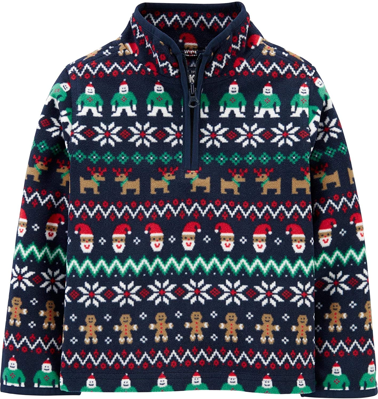 OshKosh B'Gosh Boy's Partial Zip Holiday Fair Isle Fleece Pullover Cozie Jacket (18 months, Navy Fair Isle)