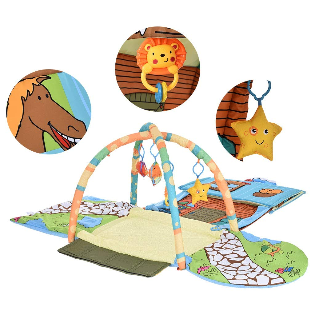 Christmas Gift Detachable Baby Play Mat,The House Activity Gym Fitness,Sleep Pad with 4 Comfort Toys