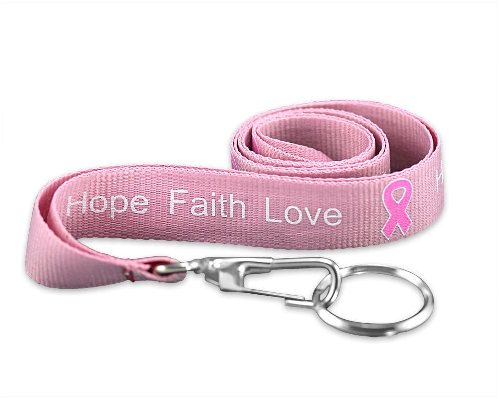 Fundraising For A Cause | Breast Cancer Hope, Faith, Love Lanyards - Wholesale Breast Cancer Awareness Pink Ribbon Lanyards (1 Lanyard)