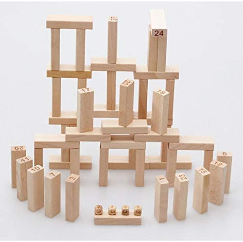 Zxq 54 Digital Stack High Children's Intellectual Layer Stacking Blocks Adult Board Game Wooden Toys
